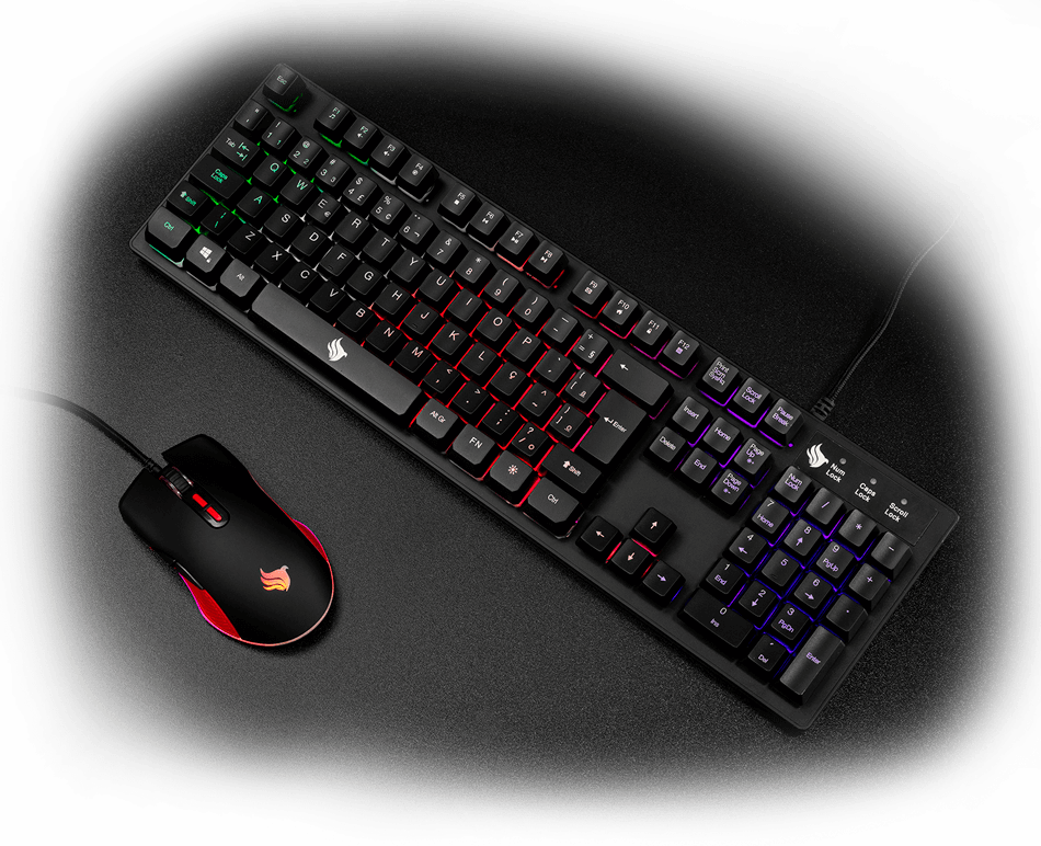 KIT Teclado e Mouse PX435 padrão ABNT2 RGB